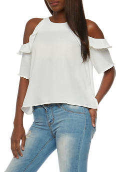 Ruffled Cold Shoulder Crepe Top - IVORY - 3401069391038