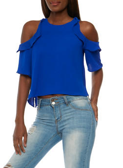 Ruffled Cold Shoulder Crepe Top - 3401069391038