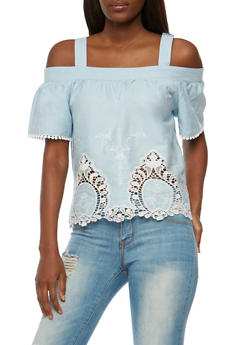 Embroidered Cold Shoulder Denim Top - 3401069391055
