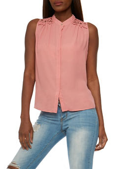 Sleeveless Button Front Top with Crochet Back Yoke - MAUVE - 3401069391130