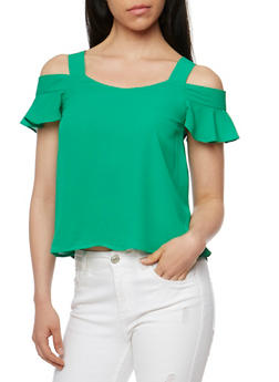 Cold Shoulder Top with Ruffled Sleeves - 3401069391143