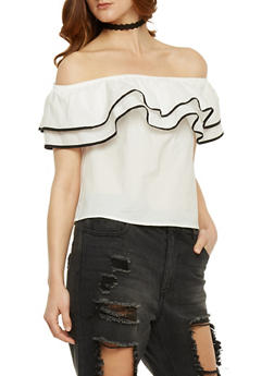 Off the Shoulder Ruffle Top with Contrast Trim - WHT-BLK - 3401069391240