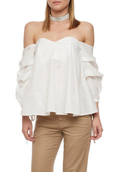 Off the Shoulder Top with Ruched Tie Sleeves - 3401069391259