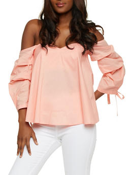 Off the Shoulder Top with Ruched Tie Sleeves - SPRING ROSE - 3401069391259