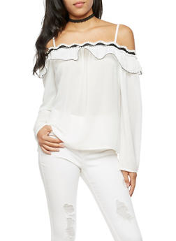 Ruffled Off the Shoulder Top - 3401069391304