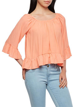 Off-The-Shoulder Peasant Top with Bell Sleeves - 3401069395009