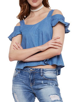 Ruffled Cold Shoulder Denim Top - 3401069395099