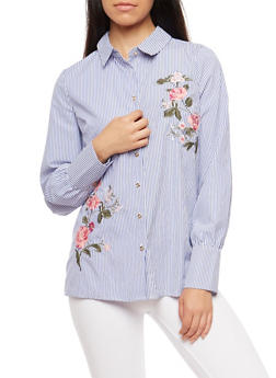 Striped Floral Embroidered Button Front Top - 3401069395100