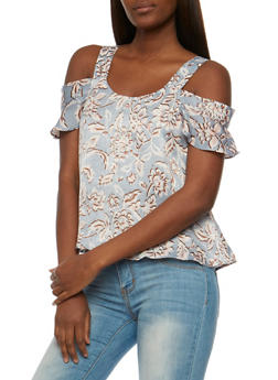 Floral Cold Shoulder Top with Ruffle Sleeves - 3401069395114