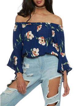 Floral Gauze Knit Off the Shoulder Top - 3401069395120
