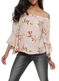 Floral Gauze Knit Off the Shoulder Top - 3401069395120