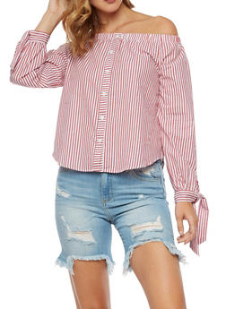 Striped Tie Sleeve Off the Shoulder Top - 3401069395134