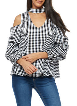 Gingham Printed Tiered Sleeve Cold Shoulder Top - 3401069395138