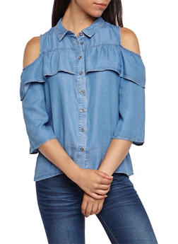 Cold Shoulder Ruffled Denim Shirt - 3401069395139