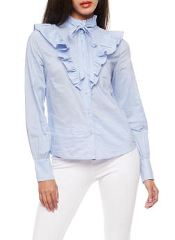 Ruffled Button Front Top - 3401069395157
