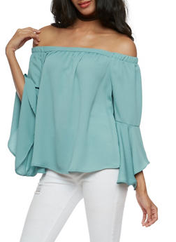 Solid Bell Sleeve Off the Shoulder Top - 3401069395211