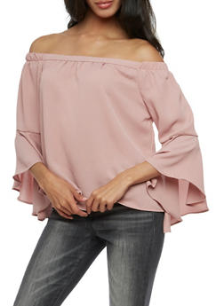 Solid Bell Sleeve Off the Shoulder Top - MAUVE - 3401069395211