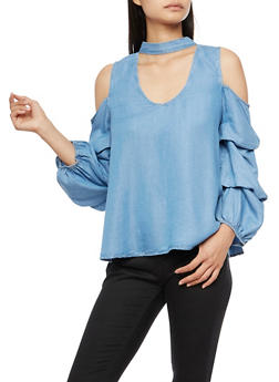 Ruched Cold Shoulder Choker Denim Top - 3401069395238