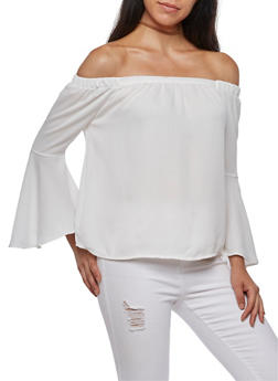 Off the Shoulder Solid Bell Sleeve Top - OFF WHITE - 3401069395378