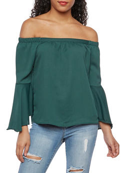 Off the Shoulder Solid Bell Sleeve Top - 3401069395378
