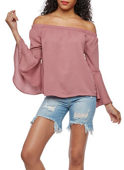 Off the Shoulder Solid Bell Sleeve Top - DARK MAUVE - 3401069395378