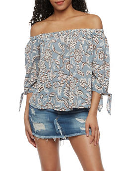 Off the Shoulder Printed Top with Tie Sleeves - 3401069396097