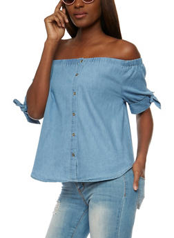 Off the Shoulder Denim Top with Tie Sleeves - 3401069396099