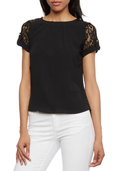 Textured Top with Lace Trim - 3401069397614