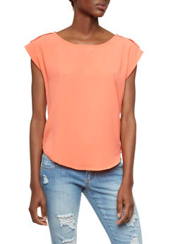 Crepe Top with Button Tab Shoulders - 3401069397685