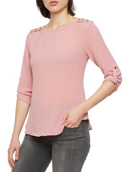 Crepe Top with Metallic Shoulder Buttons - MAUVE - 3401069397708