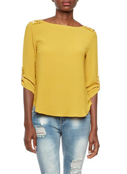 Crepe Top with Metallic Shoulder Buttons - MUSTARD - 3401069397708