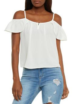 Solid Cold Shoulder Top with Flutter Sleeves - 3401069398213