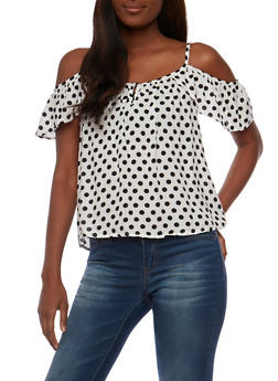 Polka Dot Cold Shoulder Top with Flutter Sleeves - WHT-BLK - 3401069398214