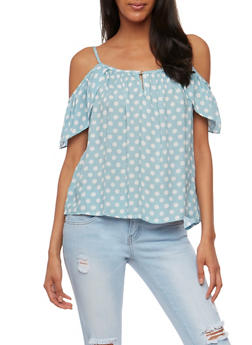 Polka Dot Cold Shoulder Top with Flutter Sleeves - 3401069398214