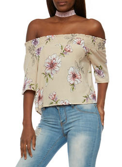 Floral Off the Shoulder Peasant Top - 3401069398379