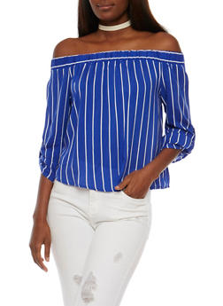 Striped Off the Shoulder Top with Tabbed Sleeves - 3401069398402