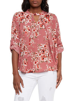 Pleated Floral Blouse with Keyhole - 3401069398404
