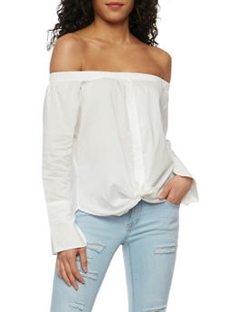 Off the Shoulder Button Front Top - 3401069398419