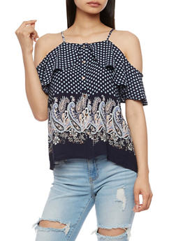 Off the Shoulder Border Print Top - 3401069398509