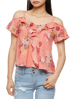Cold Shoulder Floral Top with Ruffle Trim - 3401069398539