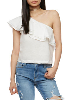 Ruffled One Shoulder Top - WHITE - 3401069398594