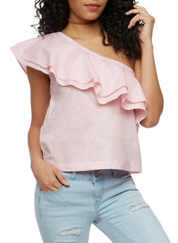 Ruffled One Shoulder Top - 3401069398594