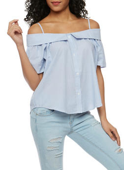 Button Front Striped Off the Shoulder Top - 3401069398641