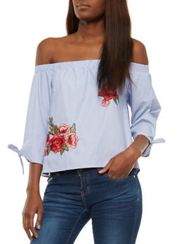 Striped Off the Shoulder Floral Embroidery Top - 3401069398643