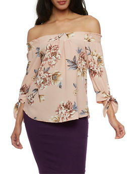 Floral Off the Shoulder Top with Tie Sleeves - 3401069398689