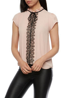 Crepe Knit High Neck Top with Lace Detail - BLUSH BLACK - 3401069398752