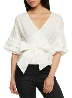 Faux Wrap Top with Ruched Sleeves - 3401069398856