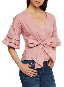 Faux Wrap Top with Ruched Sleeves - MAUVE - 3401069398856