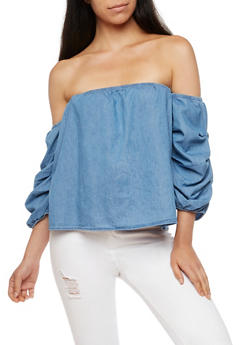 Off the Shoulder Top with Ruched Sleeves - 3401069398933