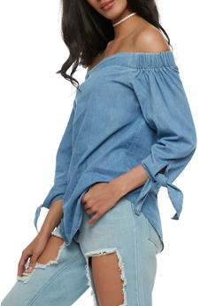 Chambray Off the Shoulder Top - 3401069398953